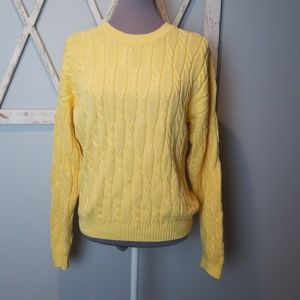 Talbots chunky yellow cable knit sweater Medium